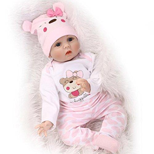 22 Zoll 55 cm Weiches Silikon Vinyl Neugeborene Babypuppe Reborn Babypuppe Realistische Puppe Magnetischer Schnuller