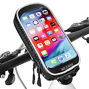 "XBoze Support Téléphone Velo étanche Universel 360° Rotation Support Telephone Moto avec Toucher Sensible Support Smartphone Guidon Vélo VTT Moto pour iPhone Samsung (Noir 6.3"")"