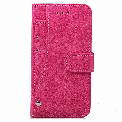 iPhone Case Cover Embossed Blumen Retro Folio Premium PU Ledertasche Magnetverschluss Wallet Stand Stil Handschlaufe Case Cover für iPhone7 ( Color : Blue , Size : IPhone 7 ) Rose