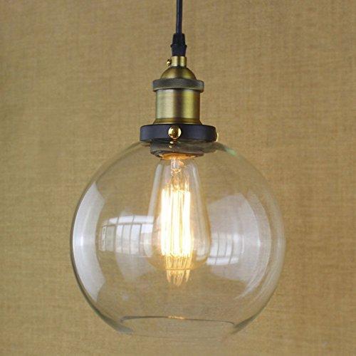 BAYCHEER Lustre Suspension Abat-jour Verre Lampe Design Clair Industriel Rétro Eclairage Decoratif