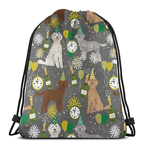 Golden Doodle Dog Fabric Dog Pattern Fabric Nye New Years Eve New Years Fabric Grey 3D Print Drawstring Backpack Rucksack Shoulder Bags Gym Bag for Adult Child 16.9