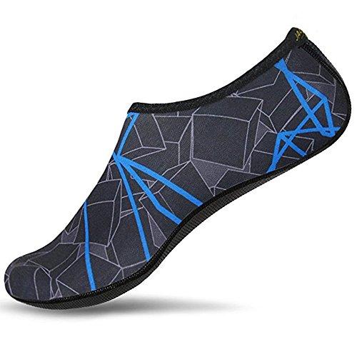 JACKSHIBO Herren Damen Barfuß Wasser Schuhe Unisex Aqua Shoes für Strand Schwimmen Surf Yoga blau Erwachsene M=225-235MM (Blue-aqua-socken)