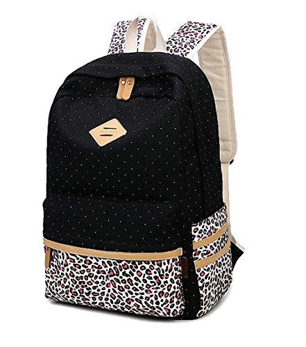 WanYang Canvas Rucksack Polka Punkt Süße Frauen und Mädchen Schultasche Reisetasche Laptops Backpack Schwarz