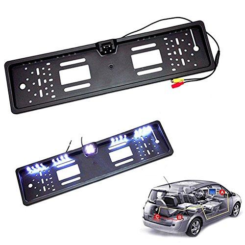 Universal-backup-kamera (Rokoo Universal HD Auto Rückansicht Backup Reverse Kamera Europäische Nummernschild Rahmen Nachtsicht mit LED)