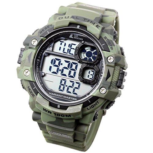 [Lad Wetter] Dual Time/100m Wasser Widerstand/Stoppuhr/Pacer Funktion/Digital Display/Military Armbanduhr/Camouflage (Militärische Camouflage-uniformen)