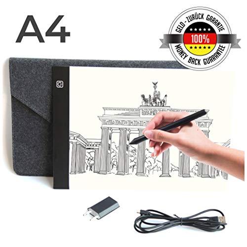 a Slim A4 Leuchttisch mit USB Ladegerät und hochwertiger Filzhülle | Lichtpad | Light Pad | Lichttafel zum Zeichnen | Helligkeit einstellbar ()