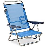 Solenny Silla Marinera plegable para jardín y playa de aluminio, 4 posiciones y asas para el transporte, tejido textiline transpirable en color azul.