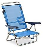 SOLENNY - Silla Marinera plegable para jardín y playa de aluminio, 4 posiciones y asas para el...