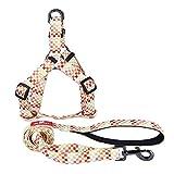 SltwJ Hundeleine, abwechslungsreiche Style-Hundeleine für große und mittlere Hunde, Zugseil + Brustrücken weiß, M