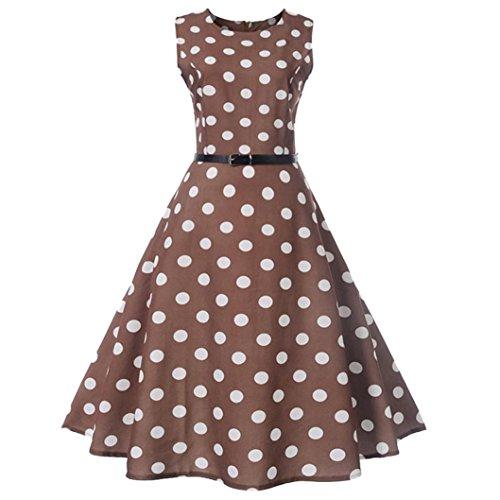 Neun Vintage Kleid,Yesmile Jahre Kleider Damen Polka Dots Solide Kappen Hülse Retro Vintage Sommerkleid Rot Sexy Party Picknick KleidRundhals Abendkleid Prom Swing Kleid (L, Braun)