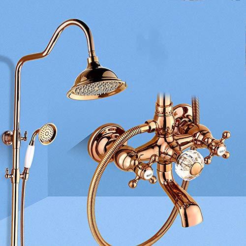 Duschsystem, Badezimmer-Duschmischer-Set Antike gebürstete Messingbad-Hähne Wandmontierte...