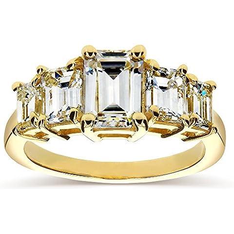 Art Deco, taglio a smeraldo e diamanti da Moissanite cinque Anello di fidanzamento (ctw) 21/3 CT, in oro giallo da 14 k