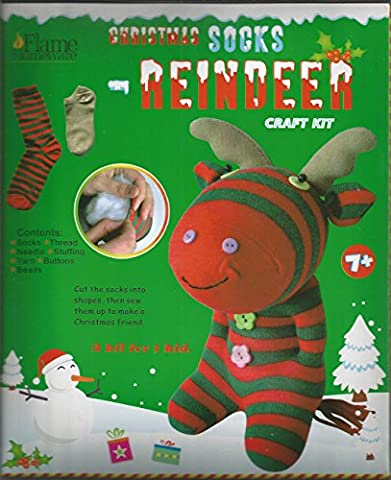 Make Your Own Santa Claus Reindeer Moose Snowman Childrens Christmas Sock Puppet Soft Toy Craft Kit (Reindeer Moose)