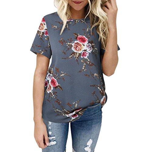XXYsm Damen Blusen Kurzarm Sommer T-Shitr Kurzarm Oberteil Bluse Shirt Damen Locker Oberteil Off Shoulder Bluse Sommer Shirt Pullover Tops Damen Blumen (M, Grau)