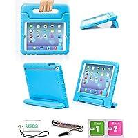 Luka Carry Maniglia Caso/ Custodia di EVA con Supporto e Manico/ Custodia Protettiva Antiurto con Supporto per Bambini per Apple ipad mini , salviette schermo e cordicella del telefono e dello stilo Incluse (Ipad 2/Ipad 3/Ipad 4, Blu)