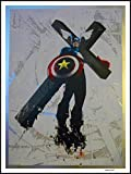 Banksy imagenation 'Capitán América Cruz' - 60 cm X 80 cm Diseño de láminas autoadhesivas papel de cartel