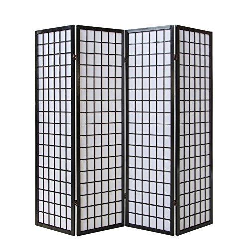 Homestyle4u 164 Paravent Raumteiler 4 teilig, Holz Schwarz, Reispapier Weiß, Höhe 175 cm