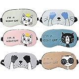 6 pcs Antifaz para Dormir Caricatura Máscara de Ojos para Niños Viaje Mujeres Cumpleaños Oficina Ligero