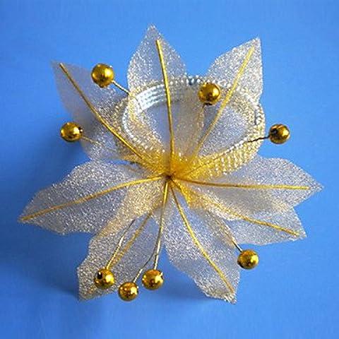 ZY/Organza Poinsettia Wedding Portatovagliolo Set di 12, Organza Dia 4,5cm, set di 12 Yellow