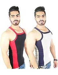 Zimfit Men's Gym Vest 112(Black_Grey)