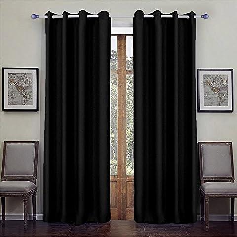 Rideau Occultant Uni 140 x 260 cm en Polyester-Très Chic -Prêt à poser (Noir)