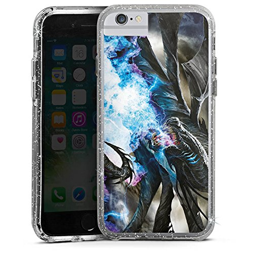 Apple iPhone X Bumper Hülle Bumper Case Glitzer Hülle Dragon Drache Eis Bumper Case Glitzer silber