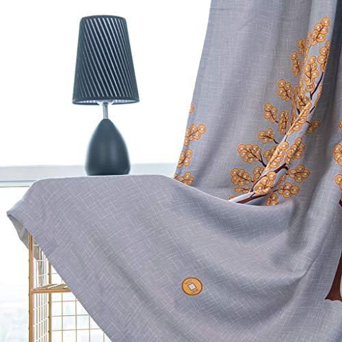 ToDIDAF Kupferbaum Gardinen Vorhang, Lichtdicht Vorhang Tüll Fenster Behandlung Voile Drapieren Volant, 1 Paneelstoff für Zuhause Wohnzimmer Schlafzimmer Dekoration, 100 x 250 cm (Grau) (Baby-jungen-fenster Volant)