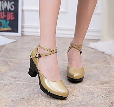 DSAAA Women'SDance Shoes Shallow PortModern,Gold38