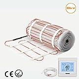Premium Qualität 200 W/m² Fußbodenheizung mat-dual Core Elektro Kabel, alle Größe unter Fliesen Heizmatte (2.0 m², Touch Screen Thermostat)