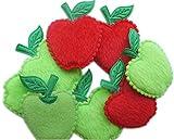 Yycraft, confezione da 60applique imbottite in feltro a forma di mela, colore rosso/verde