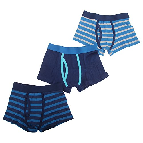Childrens Boys Striped Cotton Rich Trunks/Boxer Shorts Underwear (Pack Of 3) (5/6 Years) (Blue/Navy/Grey)