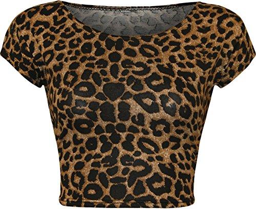 Janisramone donne nuovo raccolto reggiseno in alto mini animali tartan Verifica azteco cane dente stampa brassière Leopard Brown (cap slev)