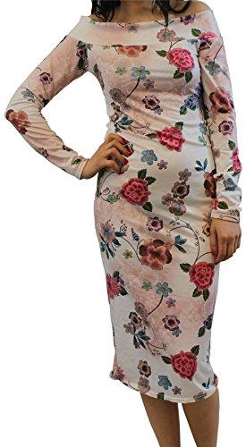 Nouveau Femmes Floral Polka Dot Imprimé Bodycon Crayon Off Épaule Manche Robe 36-50 Cream Floral