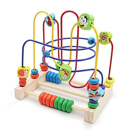 Nuheby Motorikschleife Holz Spielzeug Baby Lernspielzeug 6 Insekt Labyrinth Spiel Abakus Spielzeug für Kinder 3 4 5 Jahre alt Mädchen Junge