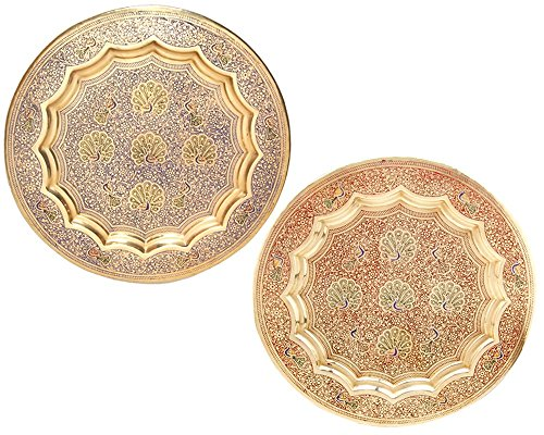 Decorative Brass Wall Plate for Home Decor Item with Gifted Plate Pack of 2 Pcs Peacock Design Plate Wall hanging Plate