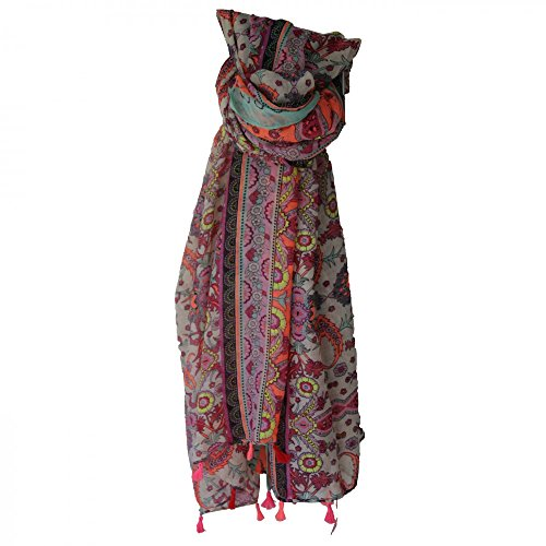 Shopping-et-Mode - Foulard multicolore à pompons avec imprimés baroques originaux - Rose, Viscose