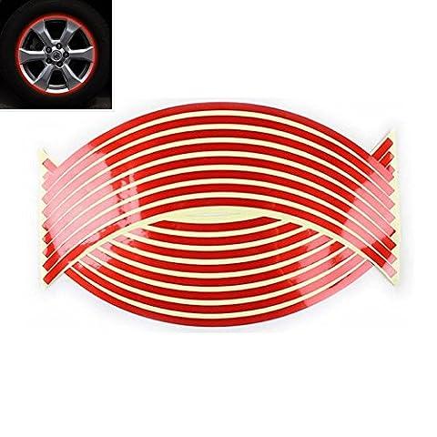 Rot Reflektierende Felgenrand Felgen Aufkleber Auto & Motorrad Felgen Streifen