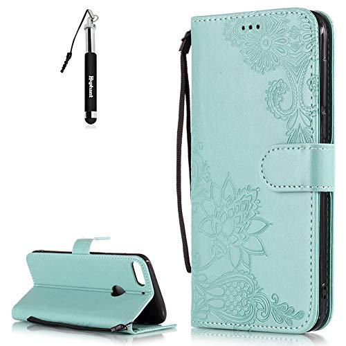 HTC Desire 12 Plus Hülle HTC Desire 12 Plus Tasche Schwarz Huphant Embossed Leder Muster Schmetterling Schutzhülle HTC Desire 12 Plus Handytasche Stand Kartenfächer Magnet Tasche Wallet Case -Grün