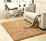AINIYUE Teppich aus weicher Seidenwolle, Flauschiger Innenteppich, strapazierfähige Bodenmatte für Schlafzimmer, Baby-Kinderteppich, Kinderteppich 200X300cm Khaki