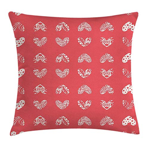 Jolly2T Coral Decor Throw Pillow Cushion Cover, Distressed Heart Shaped Cute Coral Motifs Living Icons Married Wedding Love Signs, Decorative Square Accent Pillow Case, 18 X 18 inches, Red -