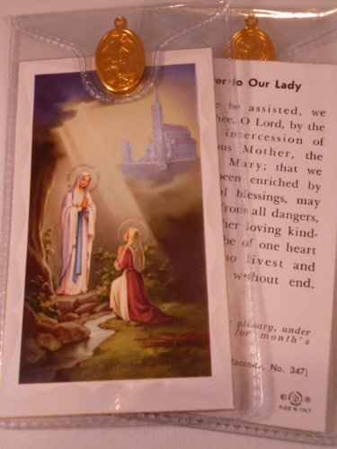 Nuestra Señora de Lourdes Rosario de tarjeta~and Medal