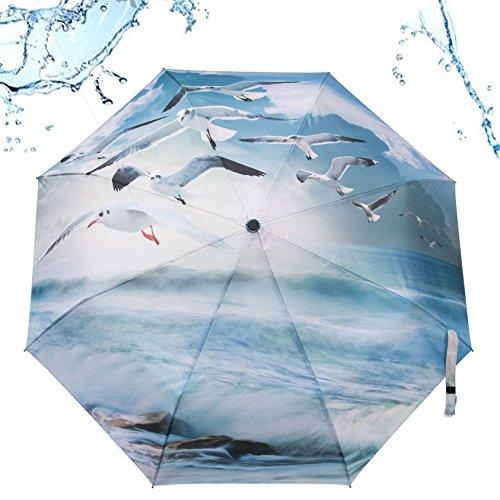 Preisvergleich Produktbild Regenschirm Automatik Taschenschirm Motiv Möven Meer Rosemarie Schulz Heidelberg