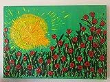 DORON ARTE - DISKONTE AUF ALLEN BILDERN - 100% HANDGEMACHT GEMALTEN - HANDGEMALTEN RAHMEN (GALERIE FRAME 4 cm) MODERNE GEMÄLDE - Mohnblumen Blumen grüner Hintergrund - 50x70x4 cm- RIF65