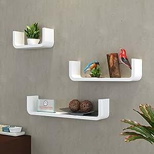 DecorNation MDF Floating Wall Shelf - Set of 3 U Shape Round Corner MDF Wall Racks - White