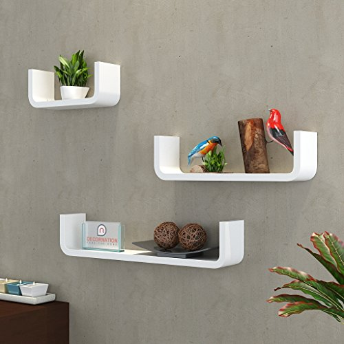 DecorNation MDF Floating Wall Shelf - Set of 3 U Shape Round Corner MDF Wall Racks - White