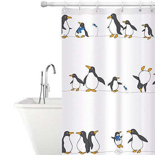 Tatkraft Stoff Duschvorhang Schimmelfrei Wasserdicht 180x180cm 12 Dusche Ringe inklusive Pinguin Custom Design (12 X 12-design)