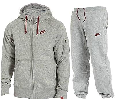Nike Herren Trainingsanzüge Mens Jog Suit Foundation Fleece Tracksuit Brushed Fleece Hooded Sports Jogging Top Bottoms 2 Colours Marl Grey Navy Sizes S M L XL New