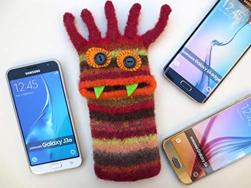 """Gefilzte Handytasche L,\""""Hermine\"""", Handyhülle, Smartphone Hülle, Monster, Samsung Galaxy S6, S6 edge, iPhone X, Galaxy J3 2016, Unikat, Wolle, gefilzt, Filz"""