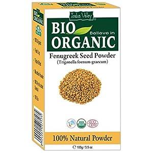 Zertifiziertes reines Bio-Bockshornkleesamen-Pulver (Methi) mit kostenlosem Rezeptbuch 100g (Fenugreek Seed Powder)