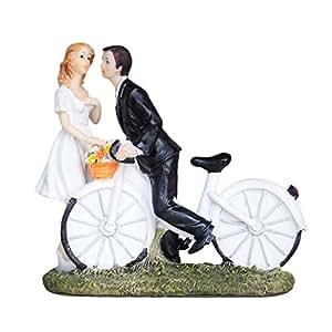 Vélo Kiss Décoration pour gâteau de mariage Couple de mariés Figurine mariée 5.3